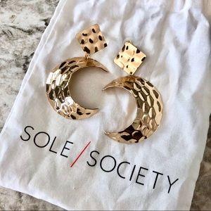 Sole Society Gold Moon Earrings Statement Earrings